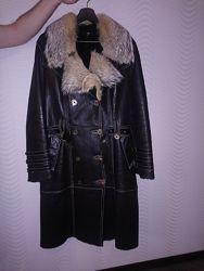 Натуральная дублёнка с меховым воротником XL Турция в отличном состоянии