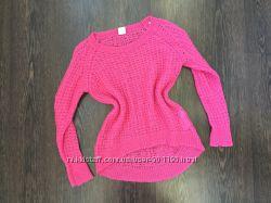 Тёплый розовый свитер крупная вязка
