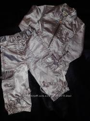 Костюм стильный куртка штаны блестящий