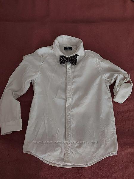 Рубашка белая с бабочкой LC Wakiki на мальчика 7-8 лет