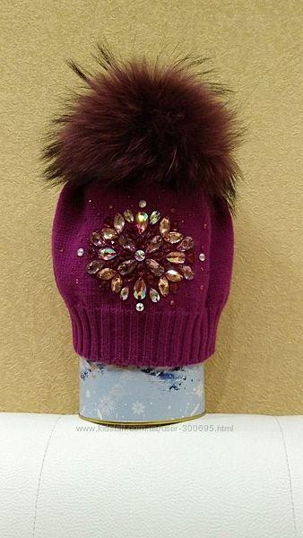 Шерстяная шапка из мериносовой шерсти с помпоном