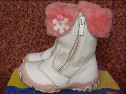 Кожаные сапожки сапоги ботинки B&G на меху