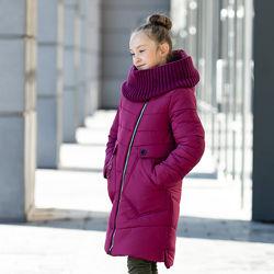 Зимнее стильное пальто для девочки Шарф