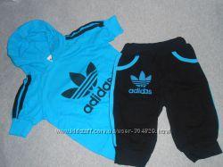 Качественный модный спортивный комплект футболка с капюшоном  бриджи