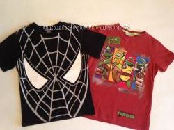 футболки человек-паук и черепашки нинзя р. 116, 122 H&M, Nicelodion