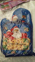 Новогодний набор прихваткарукавица Санта Клаус
