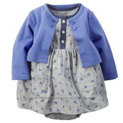 Платье бодик с болеро Carters Картерс Цветочки для девочек 3м арт03524