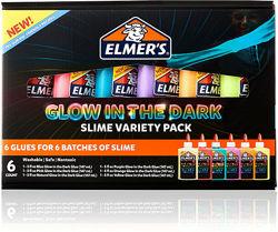 Elmers набор клея для слаймов слайм светящийся в темноте 6шт glow in the da