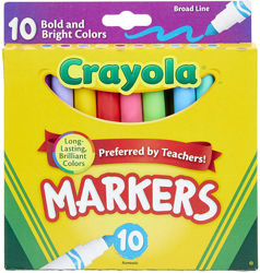 Crayola маркеры фломастеры 10 штук broad line markers bold bright colors
