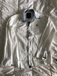 Рубашка COOL CLUB белая с синей отделкой рост 152