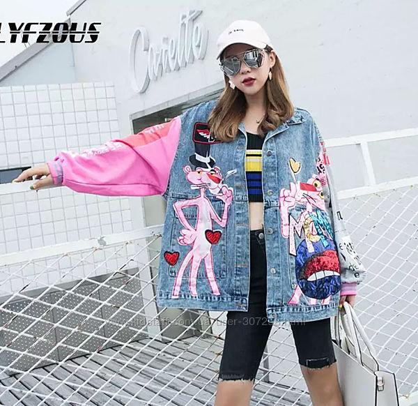 Джинсовая куртка Розовая пантера