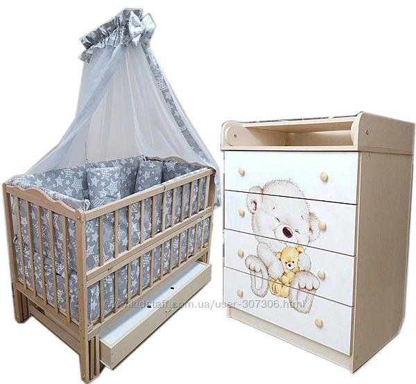 Акция Комплект мебели комод, кроватка маятник, матрас кокос, постель