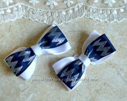 Бантики, обруч, резинки в школу синий с белым
