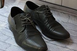 Туфли мужские, натуральная кожа, перфорированные