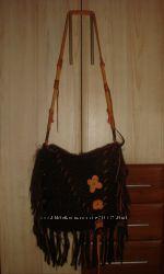 Сумка молодёжная TDT Bags Франция шоколадного цвета стиль хиппи