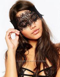 Кружевная повязка на глаза черного цвета 0529