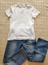 Белоснежное поло на мальчика, НМ, р.140-152 см, 10-12 лет, хлопок