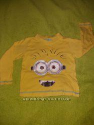 Желтая футболка с длинным рукавом миньон 3-4 года Primark