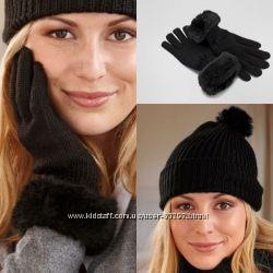 Вязаный теплый комплект шапка  перчатки Чибо ТСМ TCHIBO