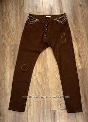 Коричневые  брюки афгани с мотней Justor