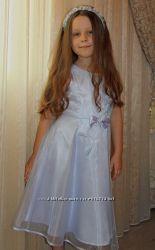 Нарядное лавандовое платье на 7-8 лет, ободок для волос в подарок