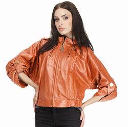 Куртка из натуральной кожи с рукавом летучая мышь gessada