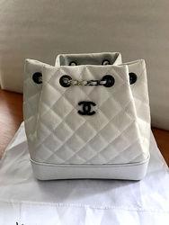 Рюкзак кожаный женский белый в стиле шанель chanel
