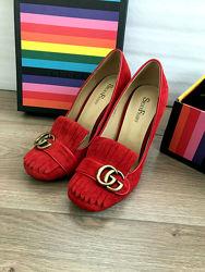 Замшевые красные туфли sexy fairy в стиле gucci