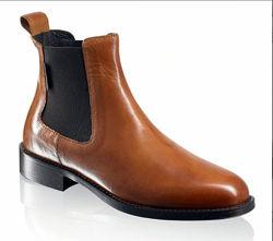 Рыжие ботинки челси russell and bromley