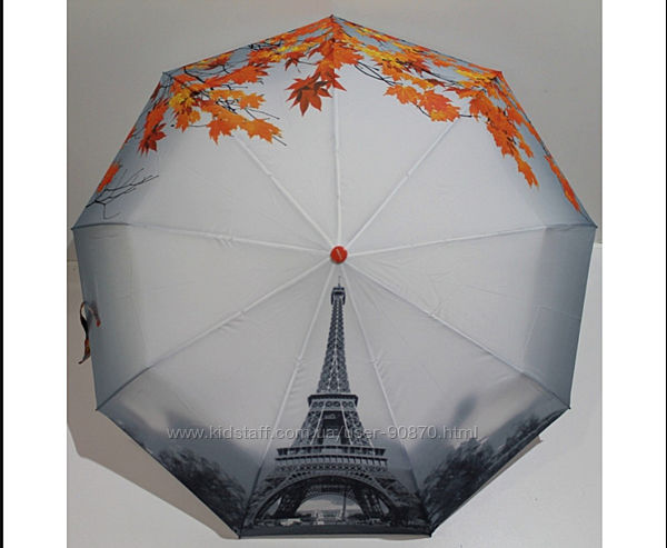 Жіноча парасоля автомат FLAGMAN Осінь в Парижі . Зонт женский автомат короб