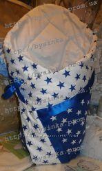 Конверт одеяло плед на выписку из роддома или крещение, 80на80 см лето