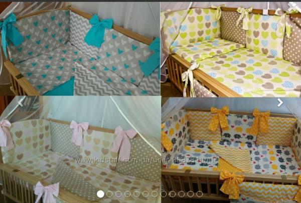 Двусторонние комплектыиз польских тканей 7 предметов в кроватку новорожденн