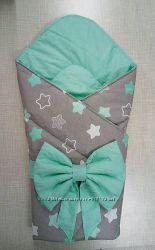 Демисезонный Конверт-одеяло на выписку новорожденного с бантом-подушечкой