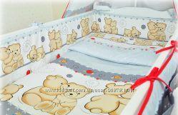 Детское постельное белье в кроватку новорожденного Мишки Обнимашки