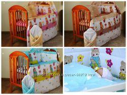 Детское постельное белье в кроватку, бортики в кроватку -Мишки садовник