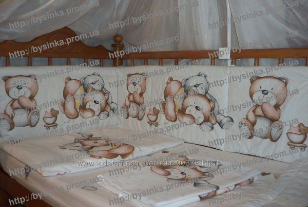 Постельное белье в кроватку новорожденного. Мишки