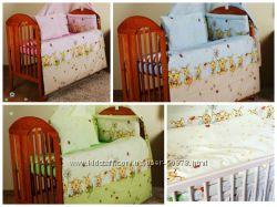 Постельное белье в кроватку с Пчелками- зеленые, розовые, голубые