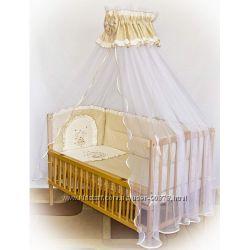 Детское постельное белье в кроватку Вышивка мишка беж