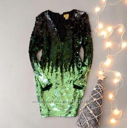 Шикарное платье пайетки H&M размер 8UK на высокий рост