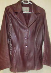 Пиджак кожаный бордовый р. М