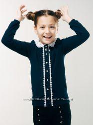 Блуза Смил с вязанным воротом р. 152, 158, 164