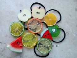 Яркие резинки резиночки и заколки фрукты для девочек