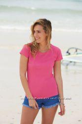 качественные женские футболки 100хлопок Fruit of the Loom из Европы