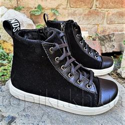 Кожаные деми ботинки N-Style 0125-3-301 черный размеры 30-37