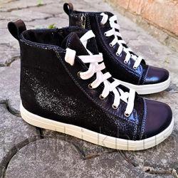 Кожаные деми ботинки N-Style 0125-4-301 синий размеры 30-37