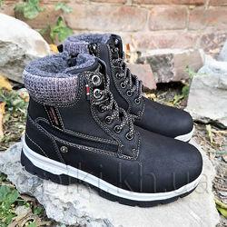 Зимние ботинки American club 4420b черный размеры 32-36