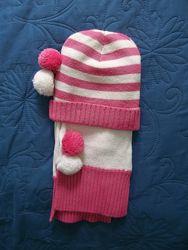 Нежный миленький комплект шапка-шарф на ОГ 45-49