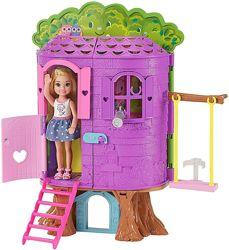 домик на дереве и дочка Барби куколка Челси со щенком, оригинал Маттел США