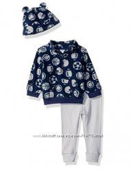 костюм на мальчика 9, 12, 18 месяцев флисовая кофта шапка трикотажные штаны