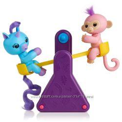 набор две интерактивные зверушки единорог и обезьянка на качельке оригинал